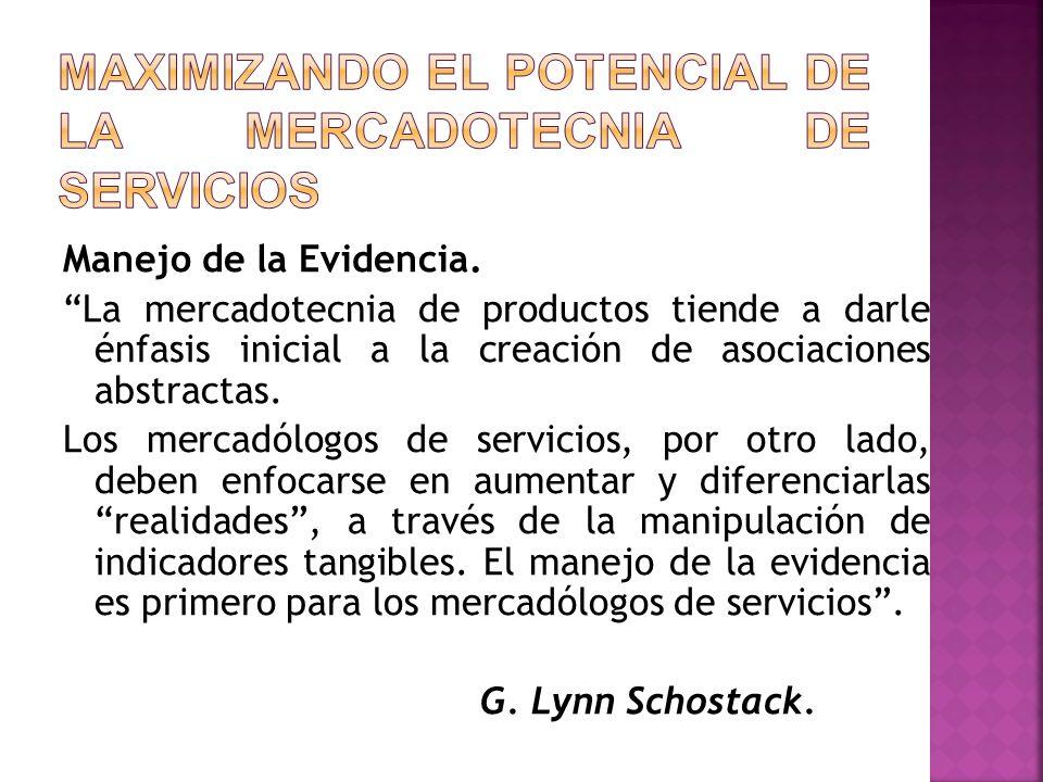 Manejo de la Evidencia. La mercadotecnia de productos tiende a darle énfasis inicial a la creación de asociaciones abstractas. Los mercadólogos de ser