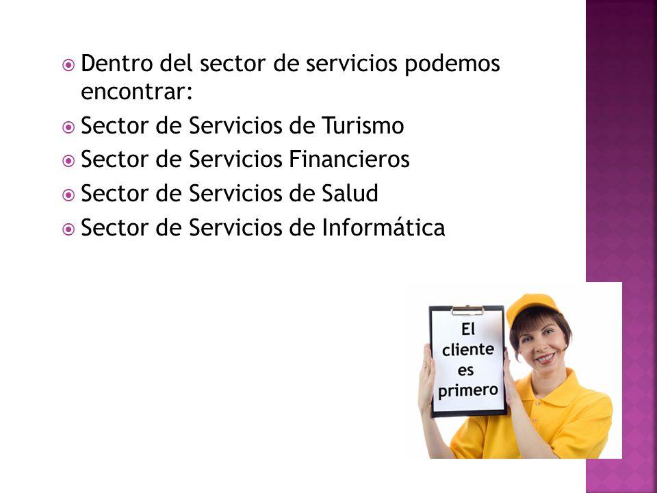 Dentro del sector de servicios podemos encontrar: Sector de Servicios de Turismo Sector de Servicios Financieros Sector de Servicios de Salud Sector d