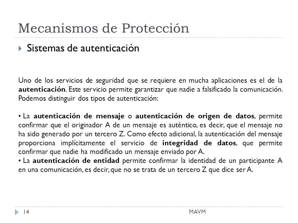 Mecanismos de Protección MAVM14 Sistemas de autenticación Uno de los servicios de seguridad que se requiere en mucha aplicaciones es el de la autenticación.