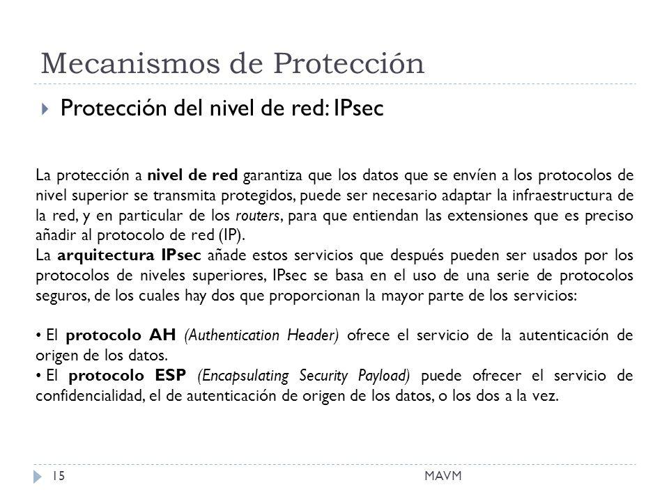 Mecanismos de Protección MAVM15 Protección del nivel de red: IPsec La protección a nivel de red garantiza que los datos que se envíen a los protocolos de nivel superior se transmita protegidos, puede ser necesario adaptar la infraestructura de la red, y en particular de los routers, para que entiendan las extensiones que es preciso añadir al protocolo de red (IP).