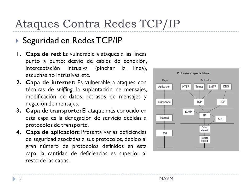 Ataques Contra Redes TCP/IP Seguridad en Redes TCP/IP 1.Capa de red: Es vulnerable a ataques a las líneas punto a punto: desvío de cables de conexión, interceptación intrusiva (pinchar la línea), escuchas no intrusivas, etc.