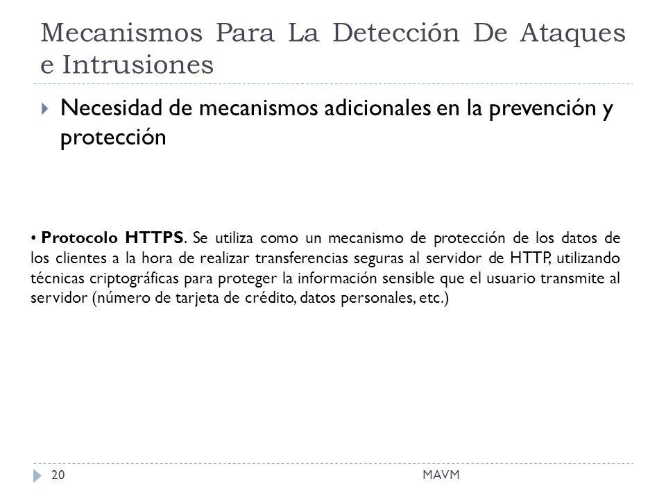 Mecanismos Para La Detección De Ataques e Intrusiones MAVM20 Necesidad de mecanismos adicionales en la prevención y protección Protocolo HTTPS.