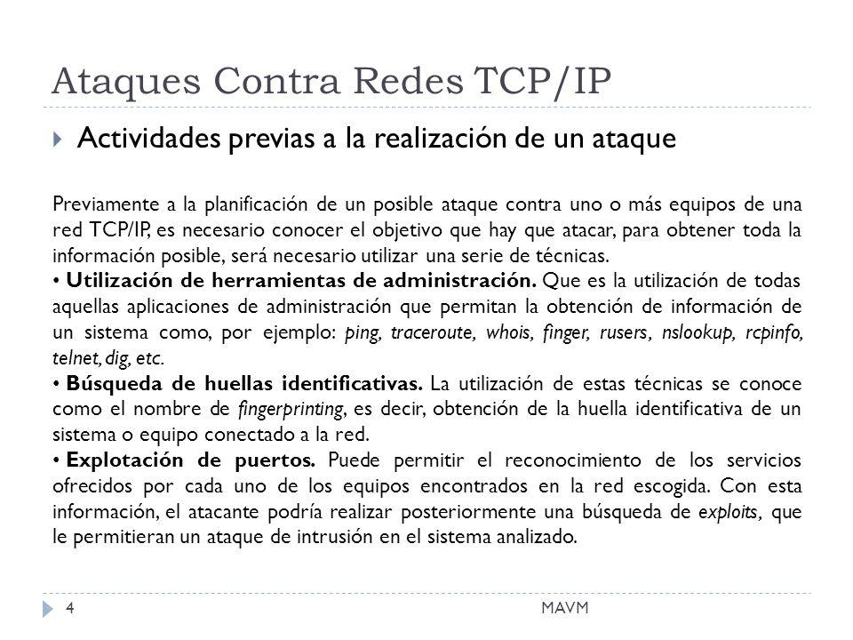 Ataques Contra Redes TCP/IP Actividades previas a la realización de un ataque Previamente a la planificación de un posible ataque contra uno o más equipos de una red TCP/IP, es necesario conocer el objetivo que hay que atacar, para obtener toda la información posible, será necesario utilizar una serie de técnicas.