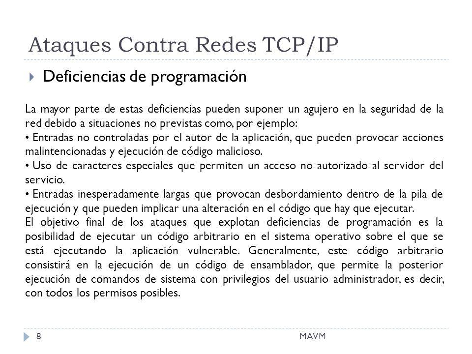 Ataques Contra Redes TCP/IP Deficiencias de programación La mayor parte de estas deficiencias pueden suponer un agujero en la seguridad de la red debido a situaciones no previstas como, por ejemplo: Entradas no controladas por el autor de la aplicación, que pueden provocar acciones malintencionadas y ejecución de código malicioso.