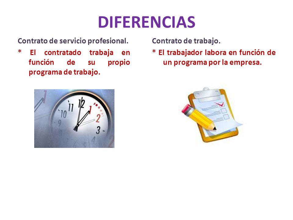 DIFERENCIAS Contrato de servicio profesional. * El contratado trabaja en función de su propio programa de trabajo. Contrato de trabajo. * El trabajado