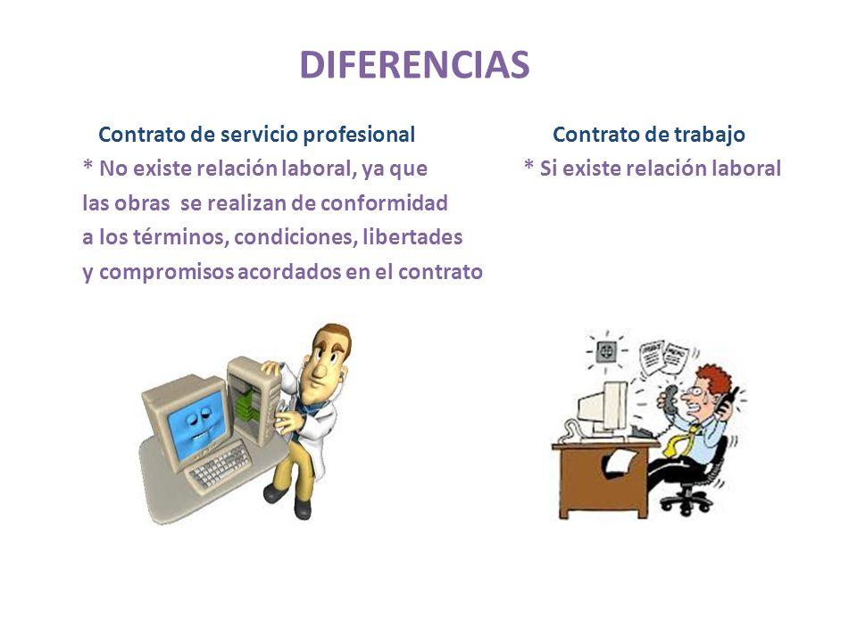 DIFERENCIAS Contrato de servicio profesional Contrato de trabajo * No existe relación laboral, ya que * Si existe relación laboral las obras se realiz