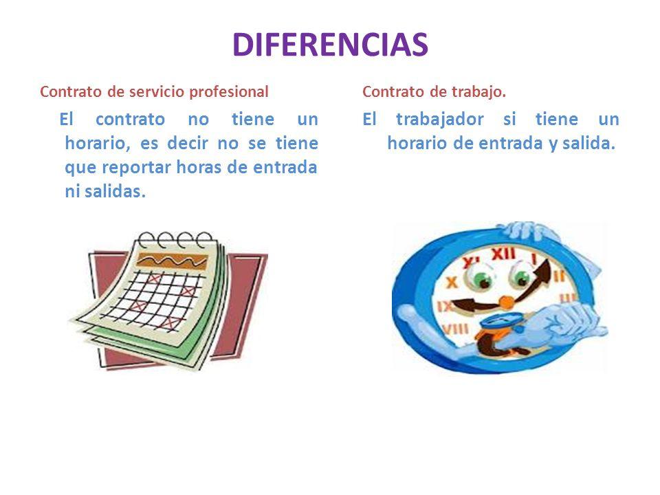 DIFERENCIAS Contrato de servicio profesional El contrato no tiene un horario, es decir no se tiene que reportar horas de entrada ni salidas. Contrato
