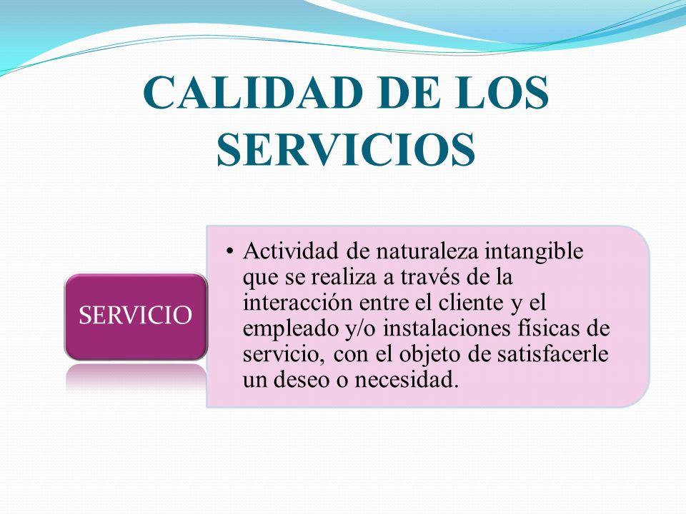 CALIDAD DE LOS SERVICIOS Actividad de naturaleza intangible que se realiza a través de la interacción entre el cliente y el empleado y/o instalaciones