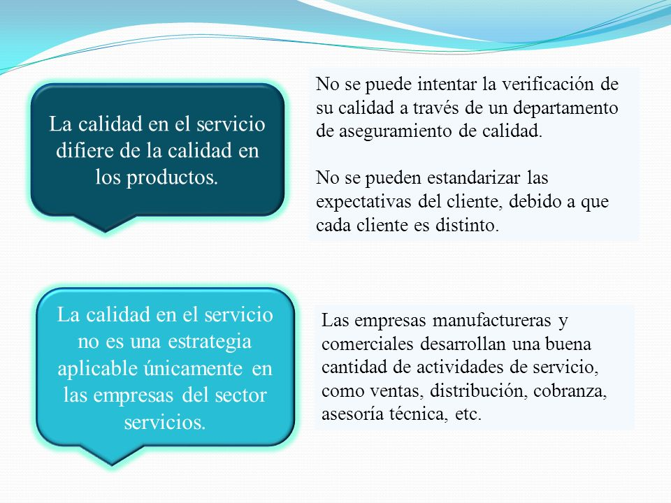 La calidad en el servicio difiere de la calidad en los productos. La calidad en el servicio no es una estrategia aplicable únicamente en las empresas
