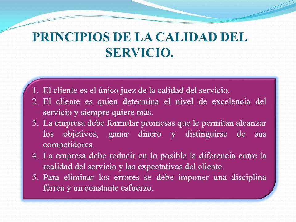 PRINCIPIOS DE LA CALIDAD DEL SERVICIO. 1.El cliente es el único juez de la calidad del servicio. 2.El cliente es quien determina el nivel de excelenci