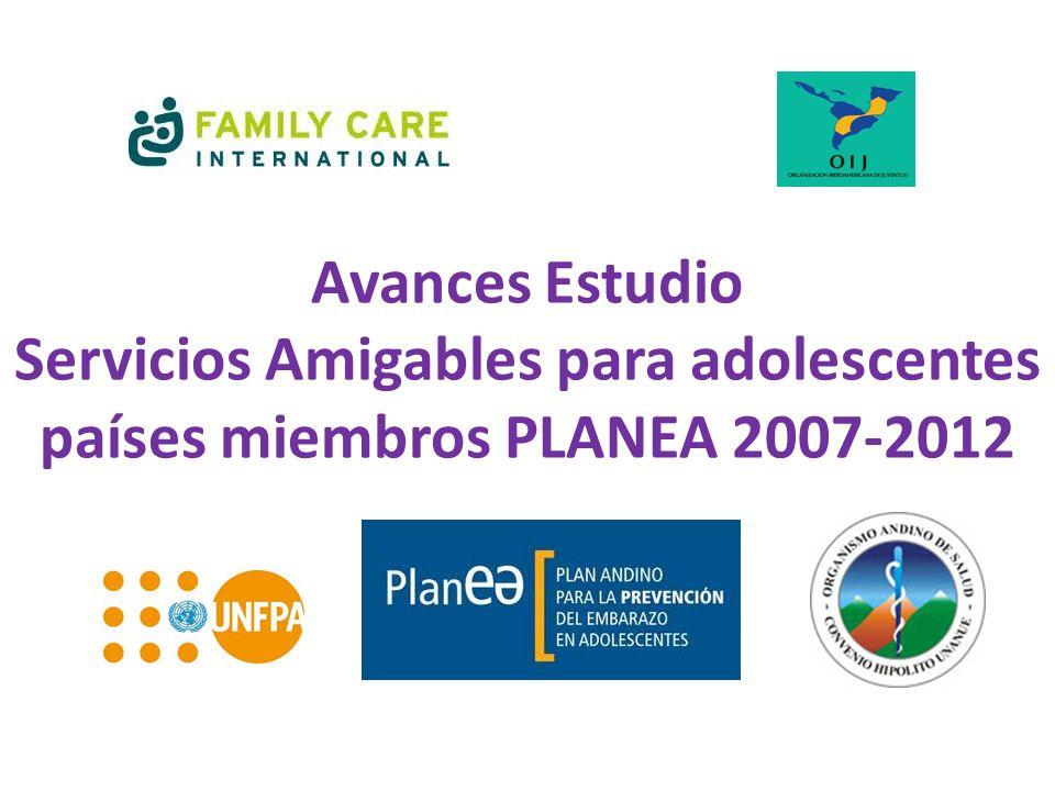 Objetivos Sistematización Contar con un estado del arte en el desarrollo de servicios para adolescentes en los países miembros del Plan Andino Prevención de Embarazo Adolescente.