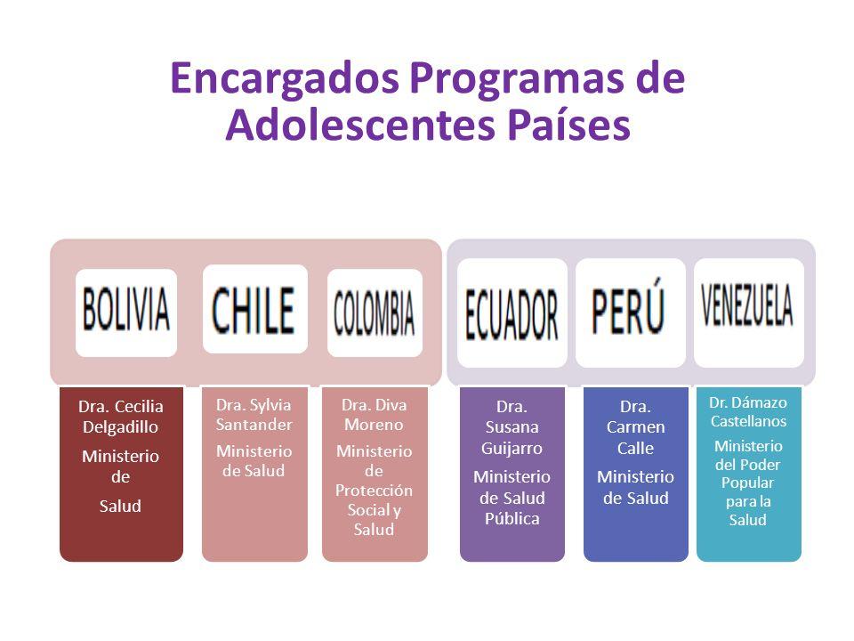 Encargados Programas de Adolescentes Países Dra.Cecilia Delgadillo Ministerio de Salud Dra.