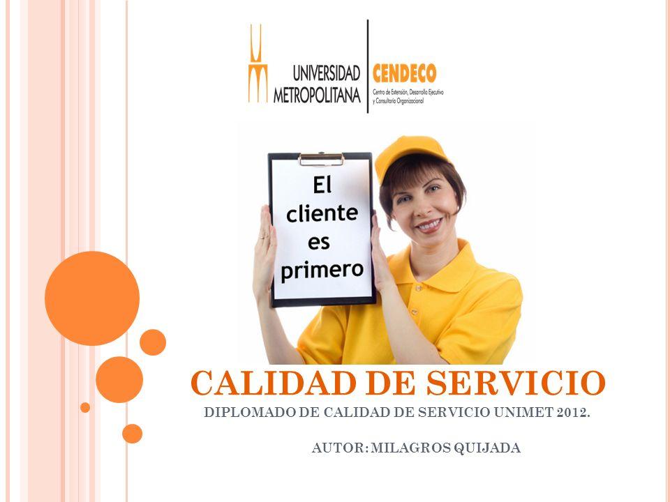 CALIDAD DE SERVICIO DIPLOMADO DE CALIDAD DE SERVICIO UNIMET 2012. AUTOR: MILAGROS QUIJADA