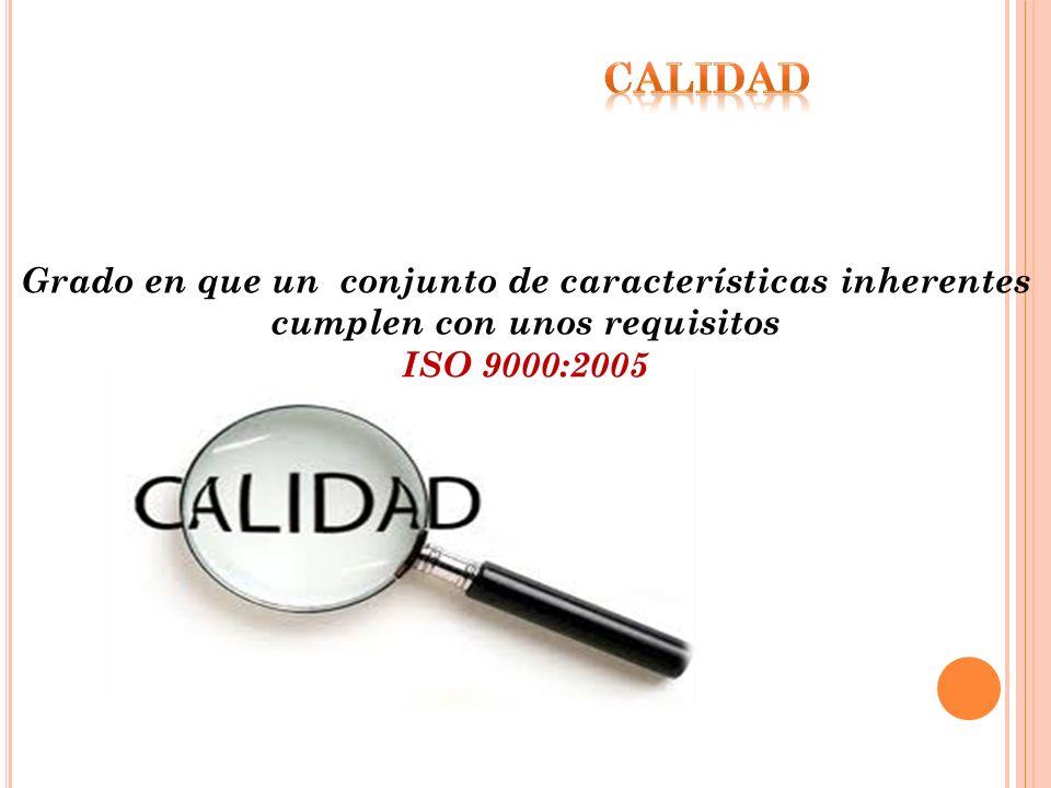 Grado en que un conjunto de características inherentes cumplen con unos requisitos ISO 9000:2005