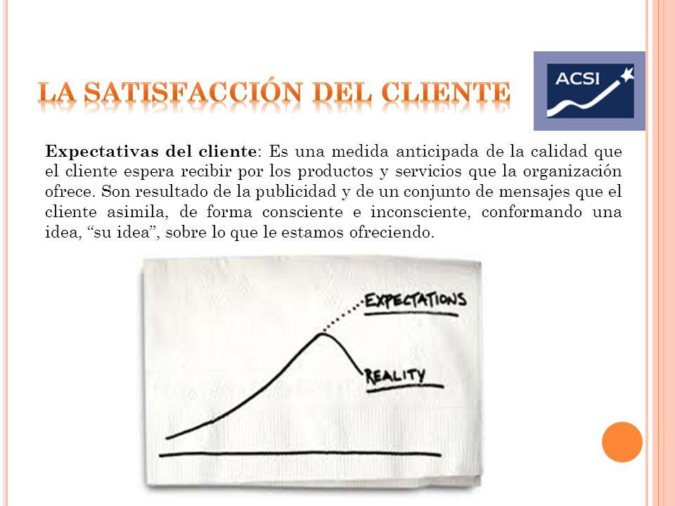 Expectativas del cliente : Es una medida anticipada de la calidad que el cliente espera recibir por los productos y servicios que la organización ofre