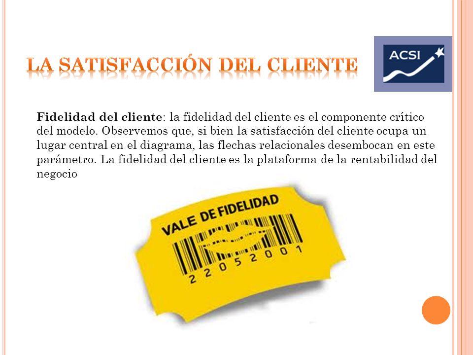 Fidelidad del cliente : la fidelidad del cliente es el componente crítico del modelo. Observemos que, si bien la satisfacción del cliente ocupa un lug