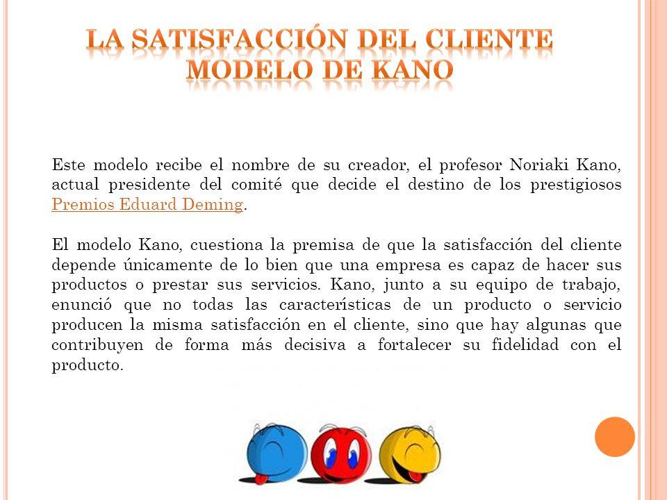 Este modelo recibe el nombre de su creador, el profesor Noriaki Kano, actual presidente del comité que decide el destino de los prestigiosos Premios E