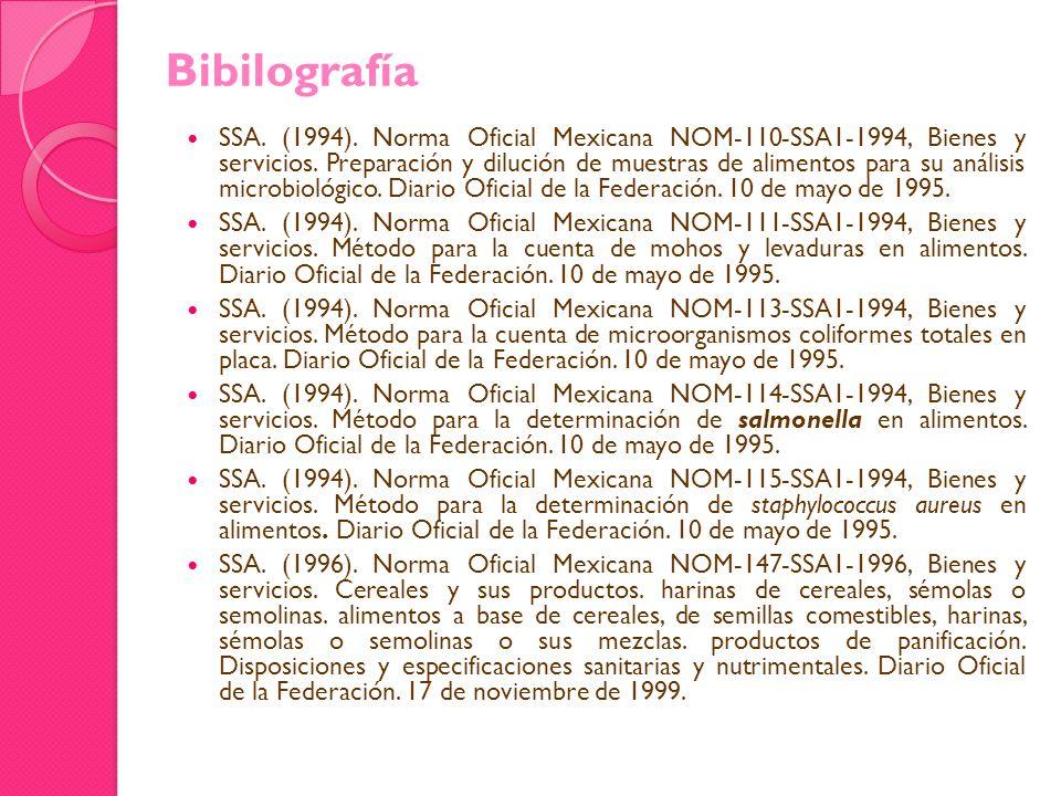 SSA. (1994). Norma Oficial Mexicana NOM-110-SSA1-1994, Bienes y servicios. Preparación y dilución de muestras de alimentos para su análisis microbioló