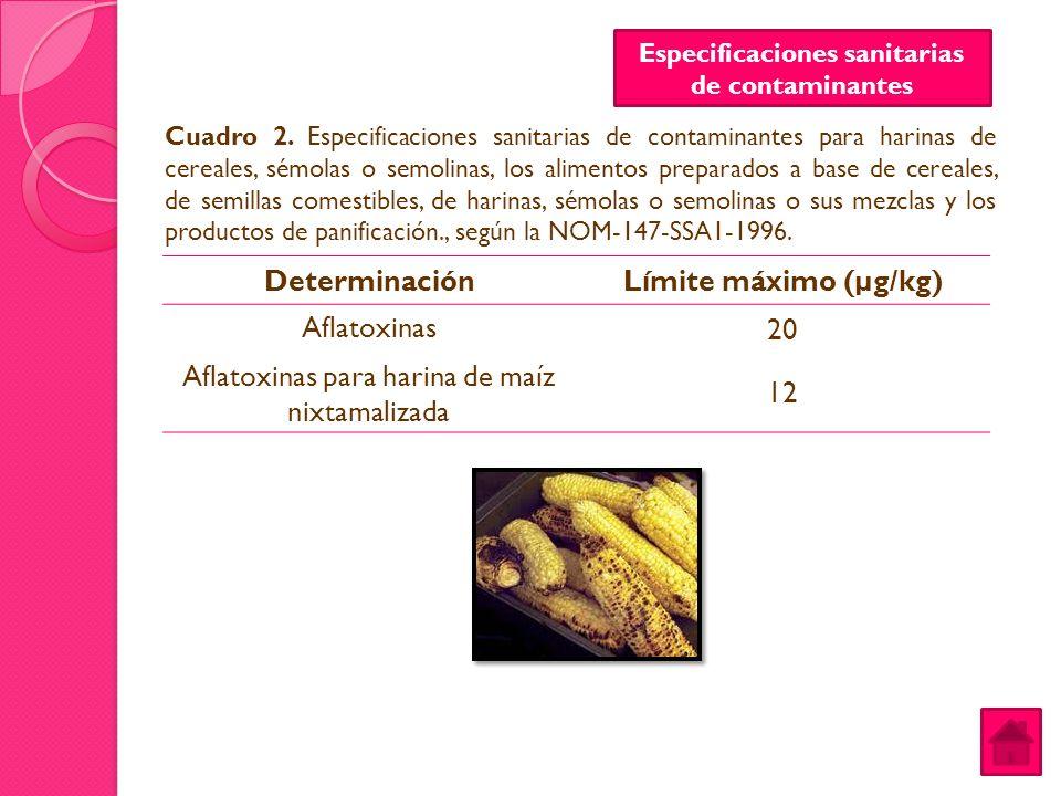 DeterminaciónLímite máximo (µg/kg) Aflatoxinas 20 Aflatoxinas para harina de maíz nixtamalizada 12 Cuadro 2. Especificaciones sanitarias de contaminan
