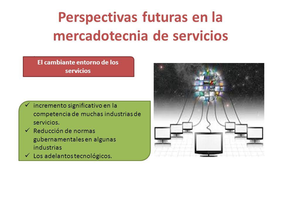 r Perspectivas futuras en la mercadotecnia de servicios El cambiante entorno de los servicios incremento significativo en la competencia de muchas ind