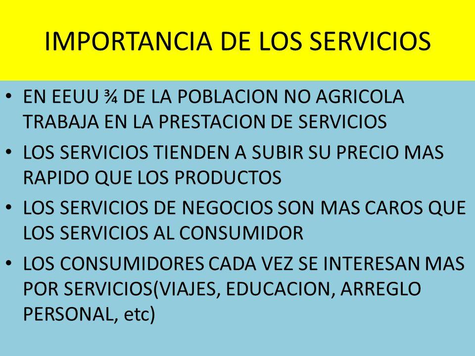 IMPORTANCIA DE LOS SERVICIOS EN EEUU ¾ DE LA POBLACION NO AGRICOLA TRABAJA EN LA PRESTACION DE SERVICIOS LOS SERVICIOS TIENDEN A SUBIR SU PRECIO MAS R