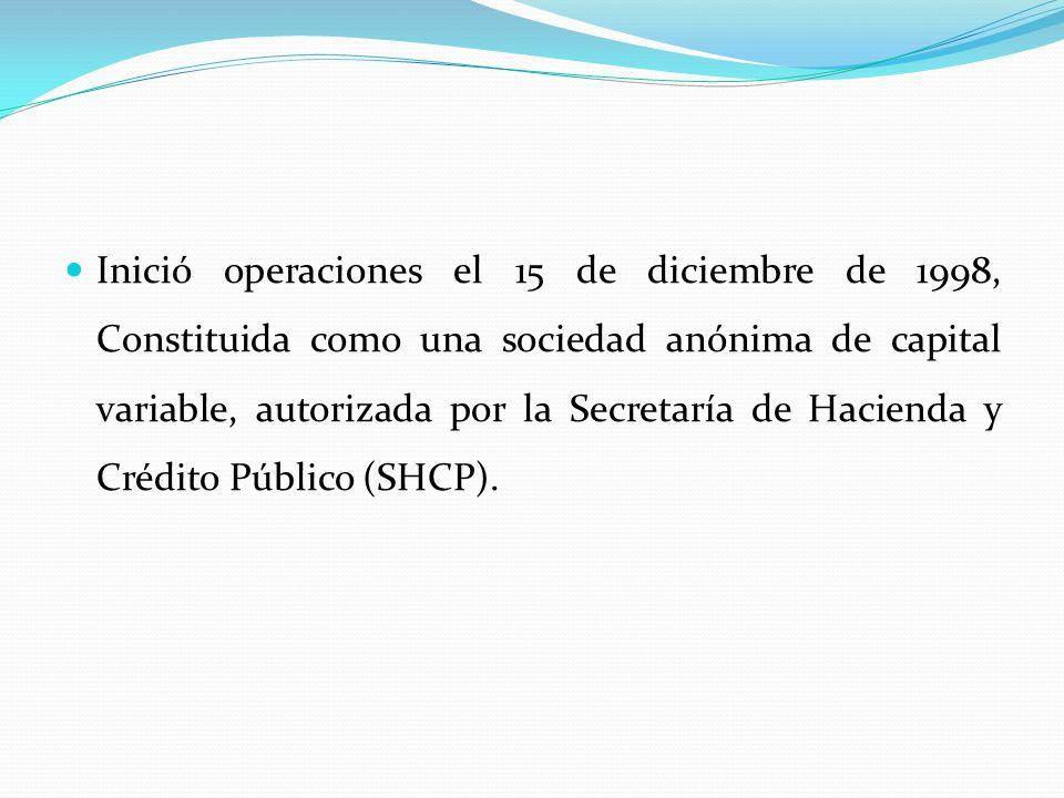 Inició operaciones el 15 de diciembre de 1998, Constituida como una sociedad anónima de capital variable, autorizada por la Secretaría de Hacienda y C