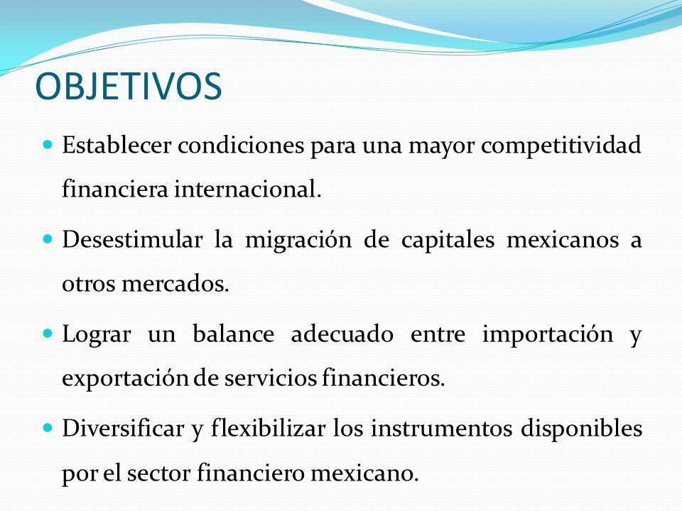 OBJETIVOS Establecer condiciones para una mayor competitividad financiera internacional. Desestimular la migración de capitales mexicanos a otros merc