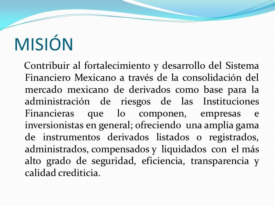 MISIÓN Contribuir al fortalecimiento y desarrollo del Sistema Financiero Mexicano a través de la consolidación del mercado mexicano de derivados como