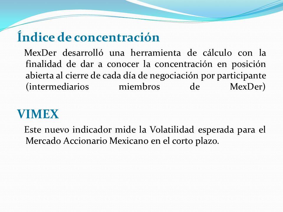 Índice de concentración MexDer desarrolló una herramienta de cálculo con la finalidad de dar a conocer la concentración en posición abierta al cierre