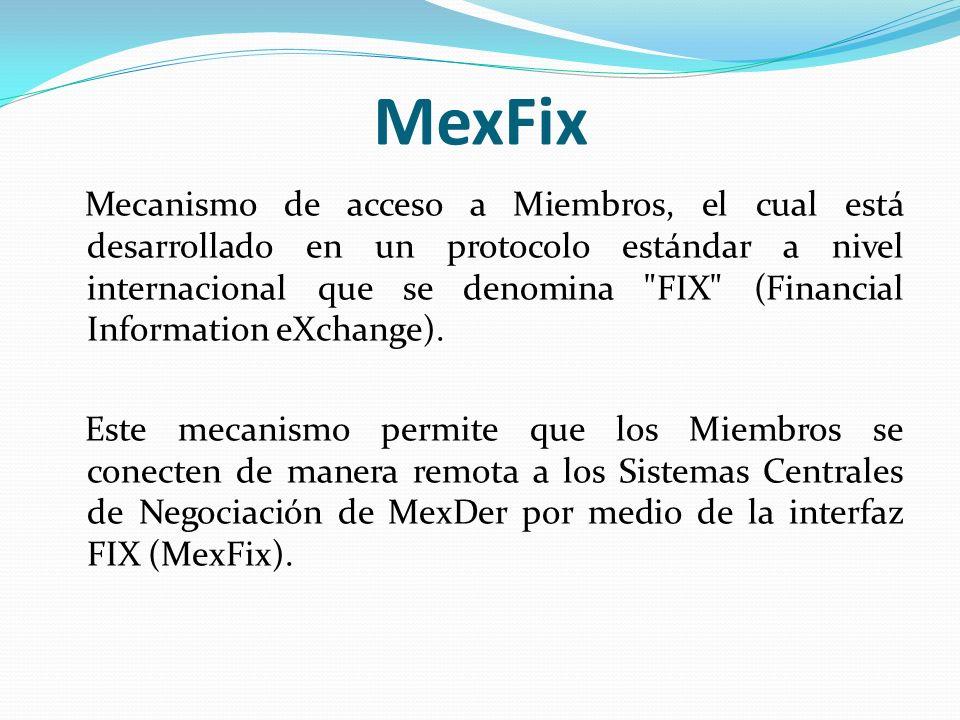 MexFix Mecanismo de acceso a Miembros, el cual está desarrollado en un protocolo estándar a nivel internacional que se denomina