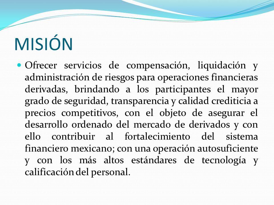 MISIÓN Ofrecer servicios de compensación, liquidación y administración de riesgos para operaciones financieras derivadas, brindando a los participante