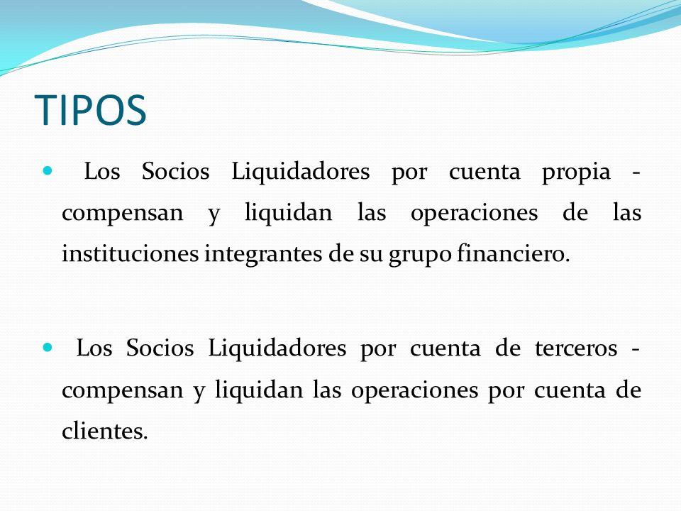 TIPOS Los Socios Liquidadores por cuenta propia - compensan y liquidan las operaciones de las instituciones integrantes de su grupo financiero. Los So