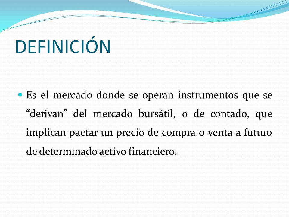 DEFINICIÓN Es el mercado donde se operan instrumentos que se derivan del mercado bursátil, o de contado, que implican pactar un precio de compra o ven