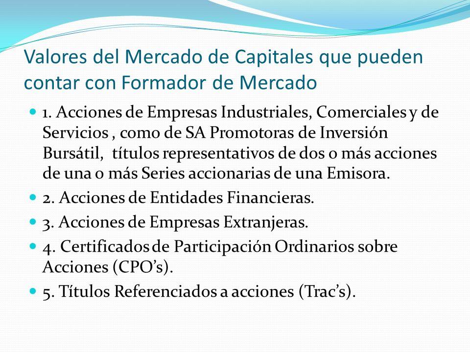 Valores del Mercado de Capitales que pueden contar con Formador de Mercado 1. Acciones de Empresas Industriales, Comerciales y de Servicios, como de S