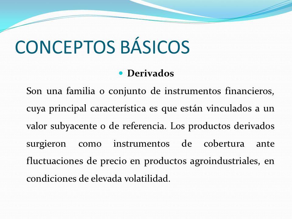 CONCEPTOS BÁSICOS Derivados Son una familia o conjunto de instrumentos financieros, cuya principal característica es que están vinculados a un valor s