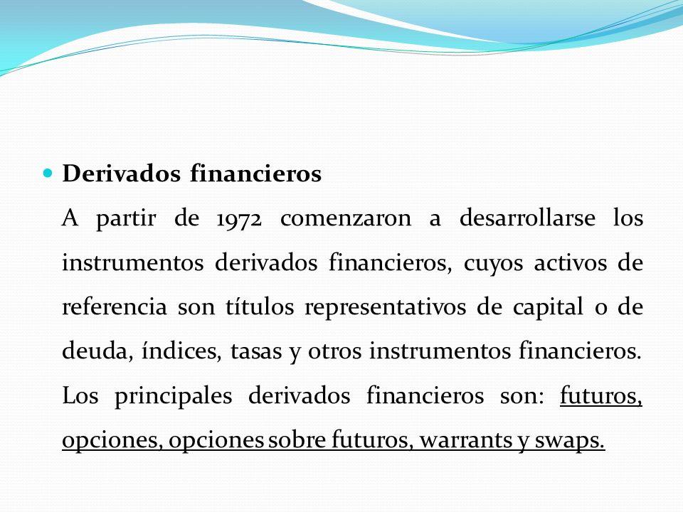 Derivados financieros__________________________ A partir de 1972 comenzaron a desarrollarse los instrumentos derivados financieros, cuyos activos de r