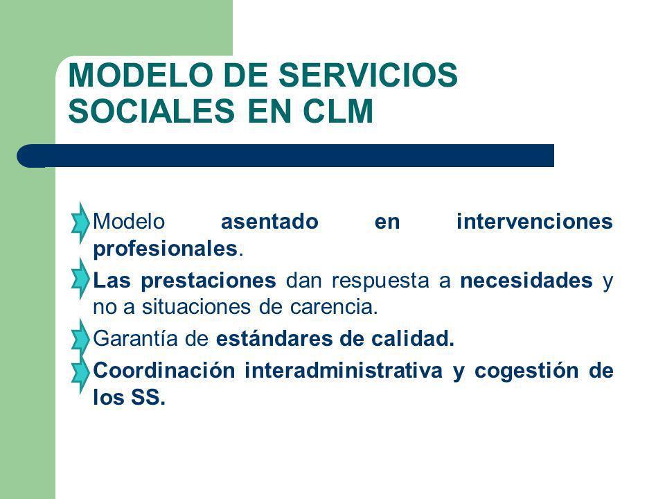 MODELO DE SERVICIOS SOCIALES EN CLM Modelo asentado en intervenciones profesionales. Las prestaciones dan respuesta a necesidades y no a situaciones d