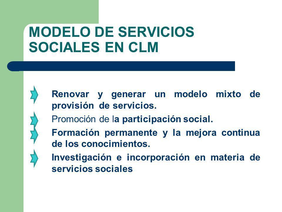 MODELO DE SERVICIOS SOCIALES EN CLM Renovar y generar un modelo mixto de provisión de servicios. Promoción de la participación social. Formación perma