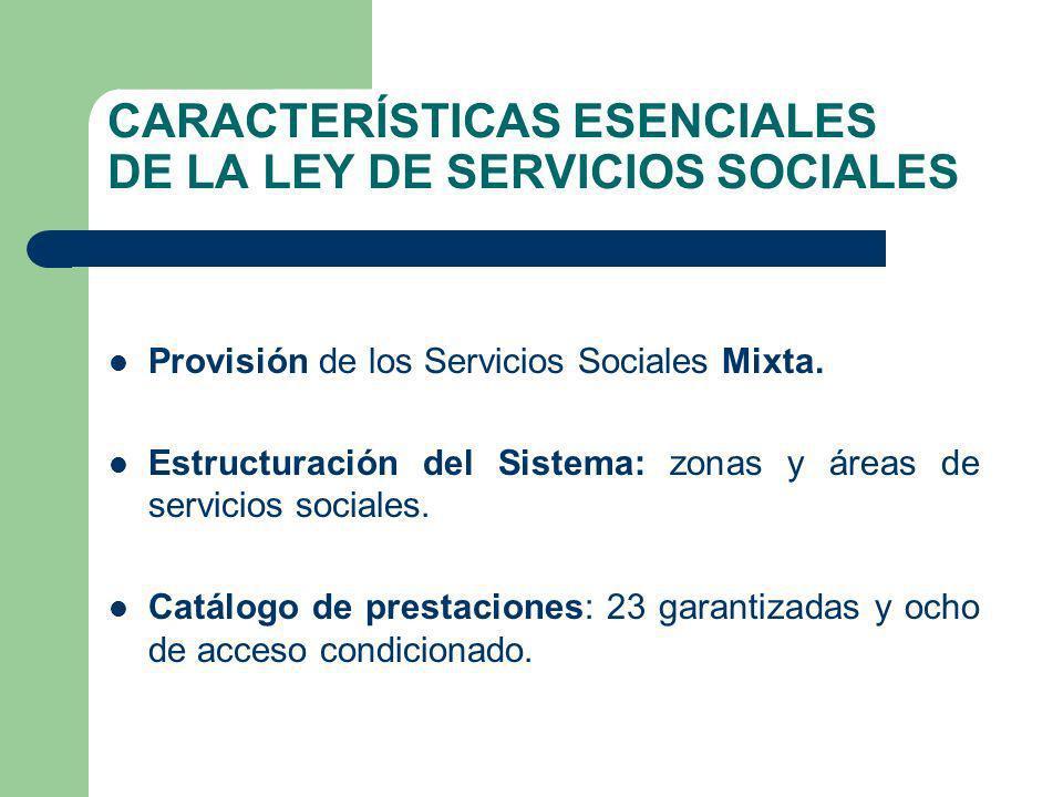 CARACTERÍSTICAS ESENCIALES DE LA LEY DE SERVICIOS SOCIALES Provisión de los Servicios Sociales Mixta. Estructuración del Sistema: zonas y áreas de ser
