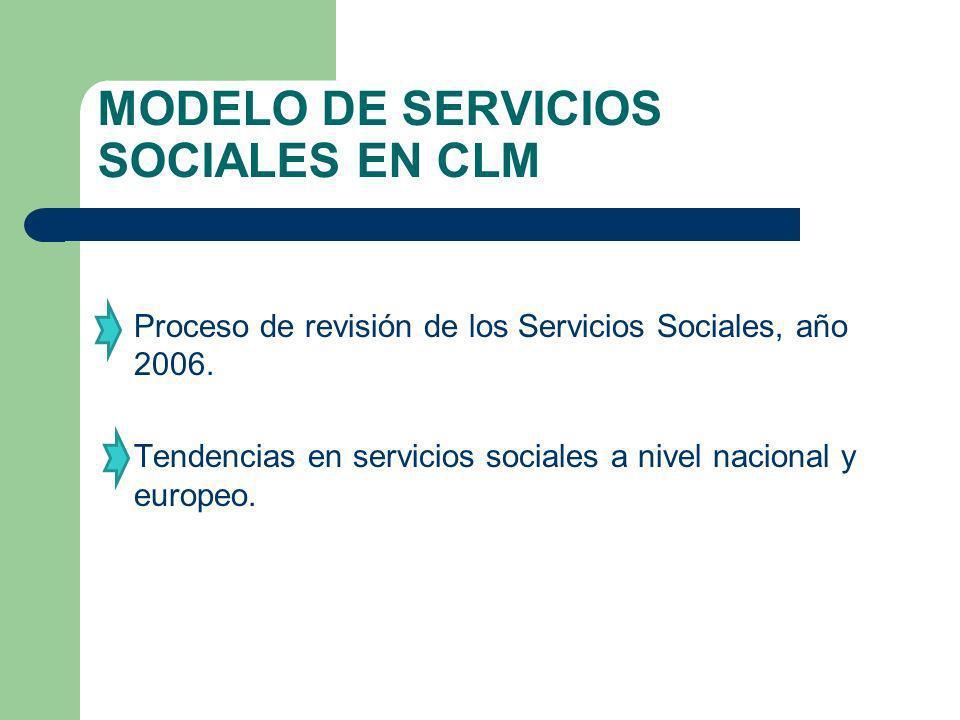 MODELO DE SERVICIOS SOCIALES EN CLM Proceso de revisión de los Servicios Sociales, año 2006. Tendencias en servicios sociales a nivel nacional y europ