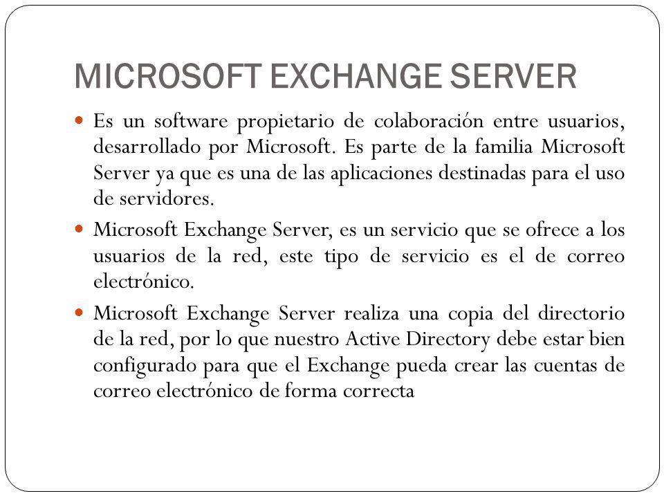 MICROSOFT EXCHANGE SERVER Es un software propietario de colaboración entre usuarios, desarrollado por Microsoft.