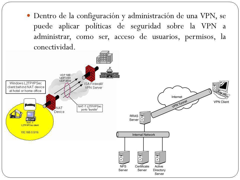 Dentro de la configuración y administración de una VPN, se puede aplicar políticas de seguridad sobre la VPN a administrar, como ser, acceso de usuarios, permisos, la conectividad.