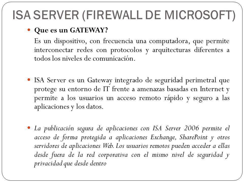 ISA SERVER (FIREWALL DE MICROSOFT) Que es un GATEWAY.