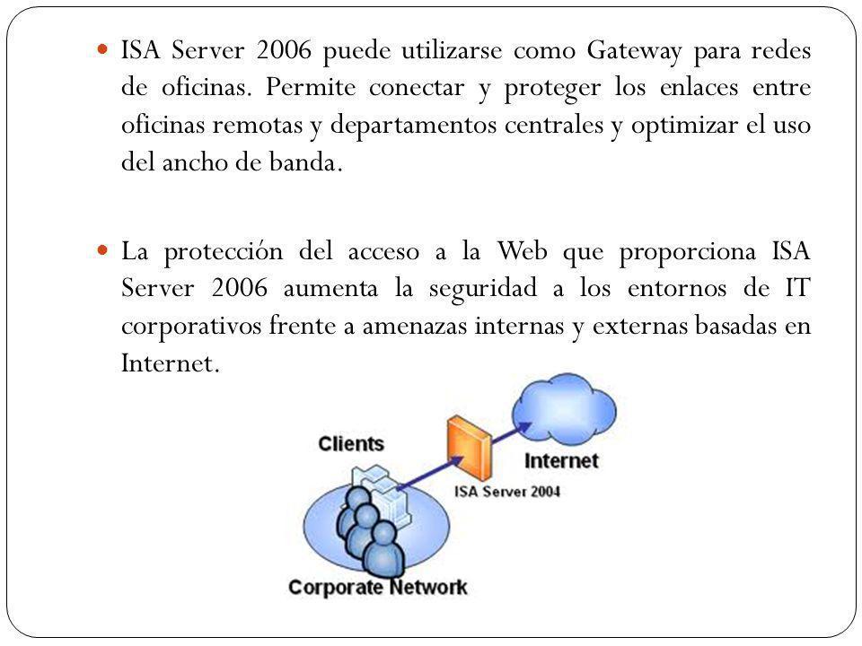 ISA Server 2006 puede utilizarse como Gateway para redes de oficinas.