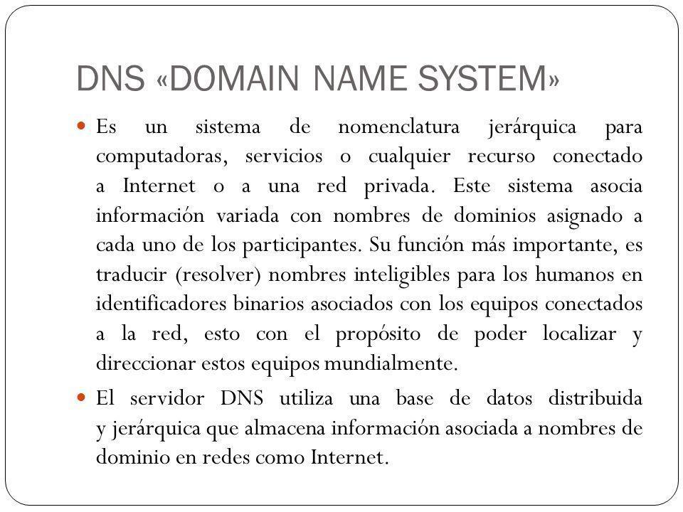 DNS «DOMAIN NAME SYSTEM» Es un sistema de nomenclatura jerárquica para computadoras, servicios o cualquier recurso conectado a Internet o a una red privada.
