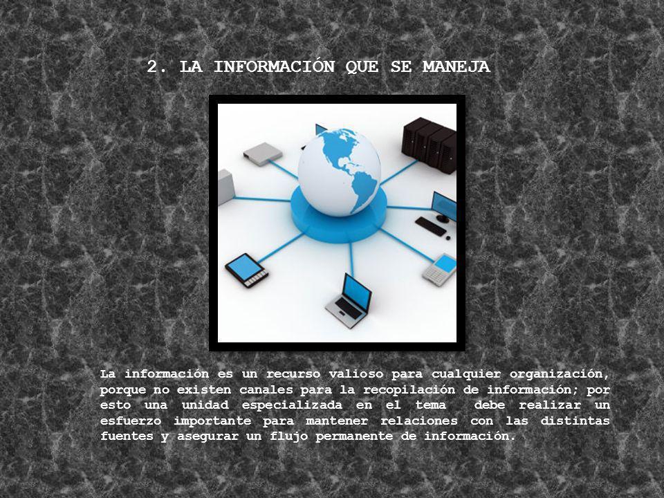 2. LA INFORMACIÓN QUE SE MANEJA La información es un recurso valioso para cualquier organización, porque no existen canales para la recopilación de in