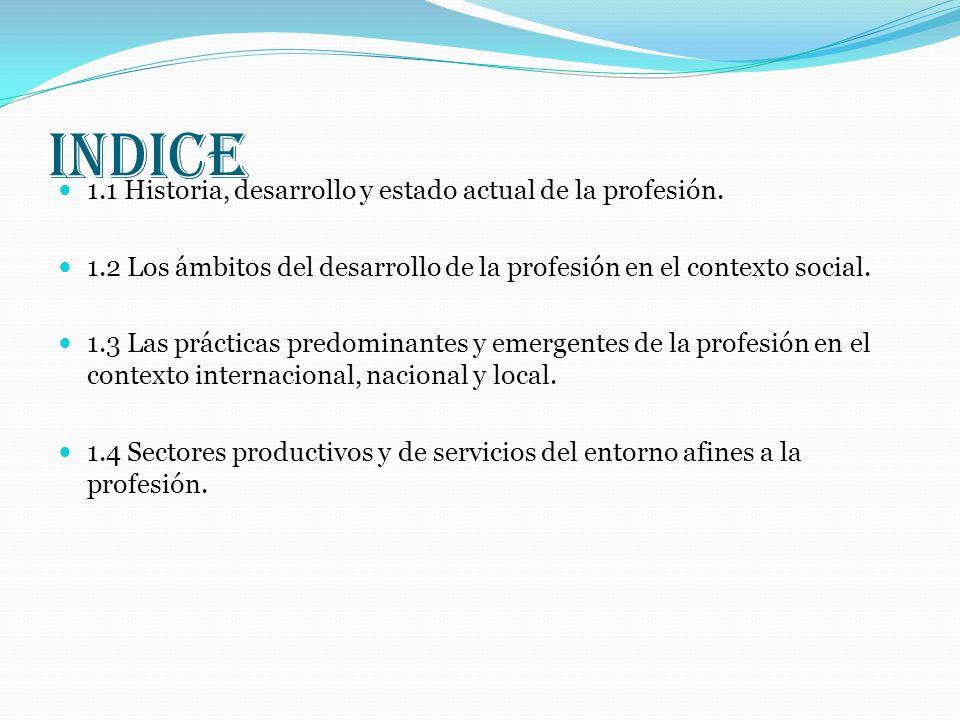 INDICE 1.1 Historia, desarrollo y estado actual de la profesión. 1.2 Los ámbitos del desarrollo de la profesión en el contexto social. 1.3 Las práctic