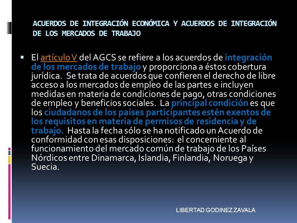 ACUERDOS DE INTEGRACIÓN ECONÓMICA Y ACUERDOS DE INTEGRACIÓN DE LOS MERCADOS DE TRABAJO El artículo V del AGCS se refiere a los acuerdos de integración