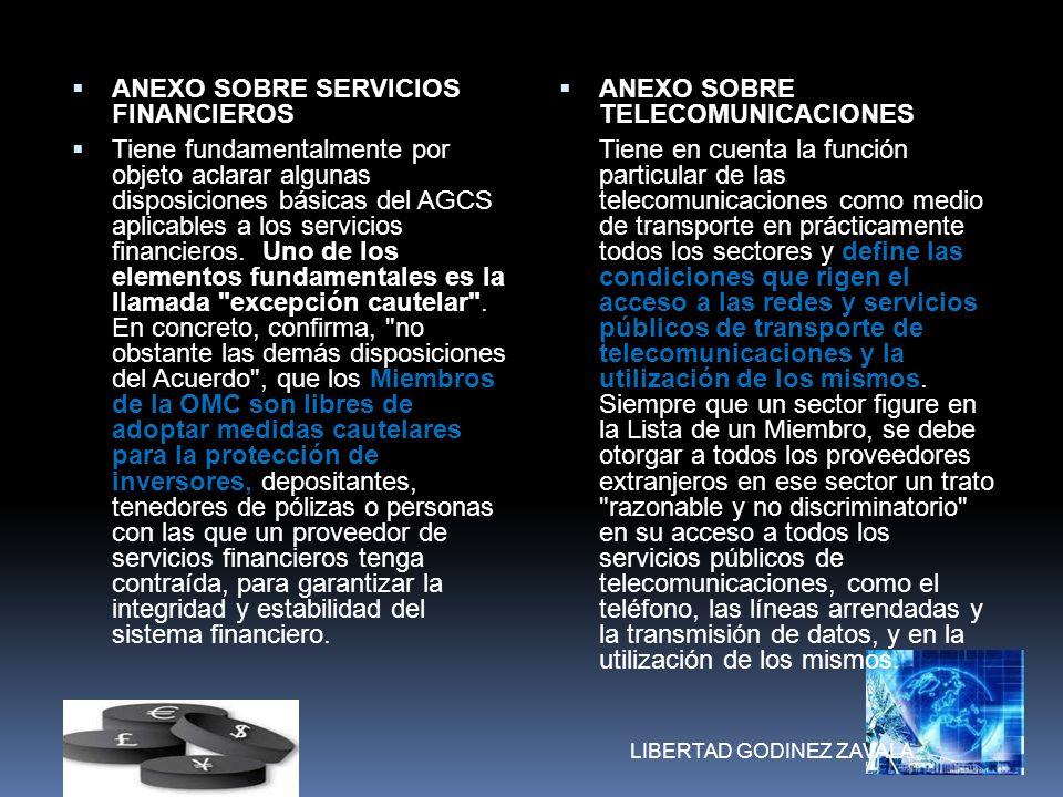 ANEXO SOBRE SERVICIOS FINANCIEROS Tiene fundamentalmente por objeto aclarar algunas disposiciones básicas del AGCS aplicables a los servicios financie