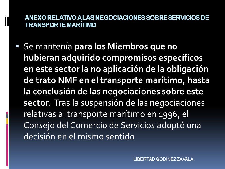 ANEXO RELATIVO A LAS NEGOCIACIONES SOBRE SERVICIOS DE TRANSPORTE MARÍTIMO Se mantenía para los Miembros que no hubieran adquirido compromisos específi